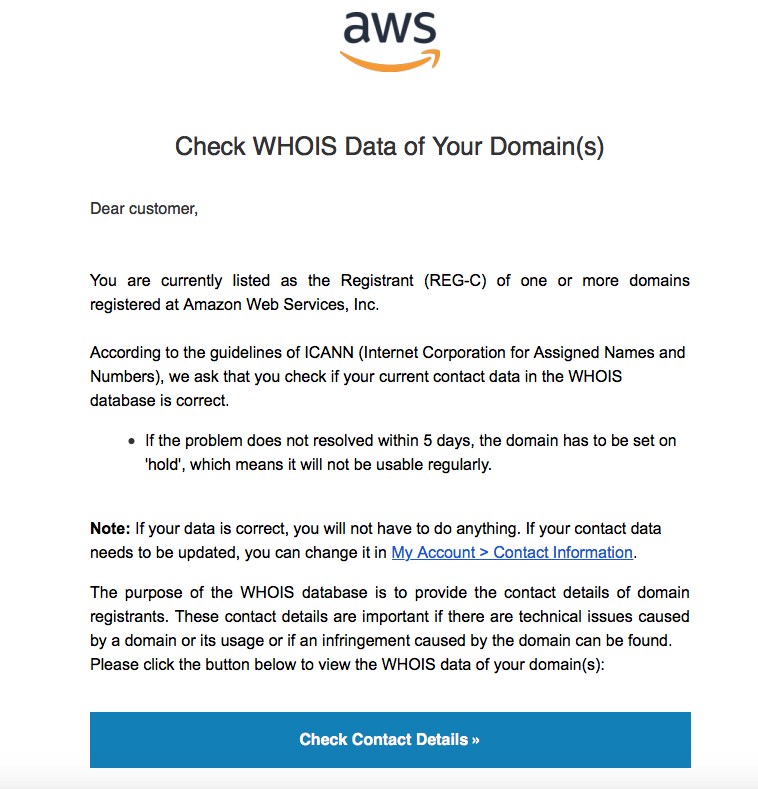 AWS Email Scam | WhoIs Domain Data Search | ICANN |